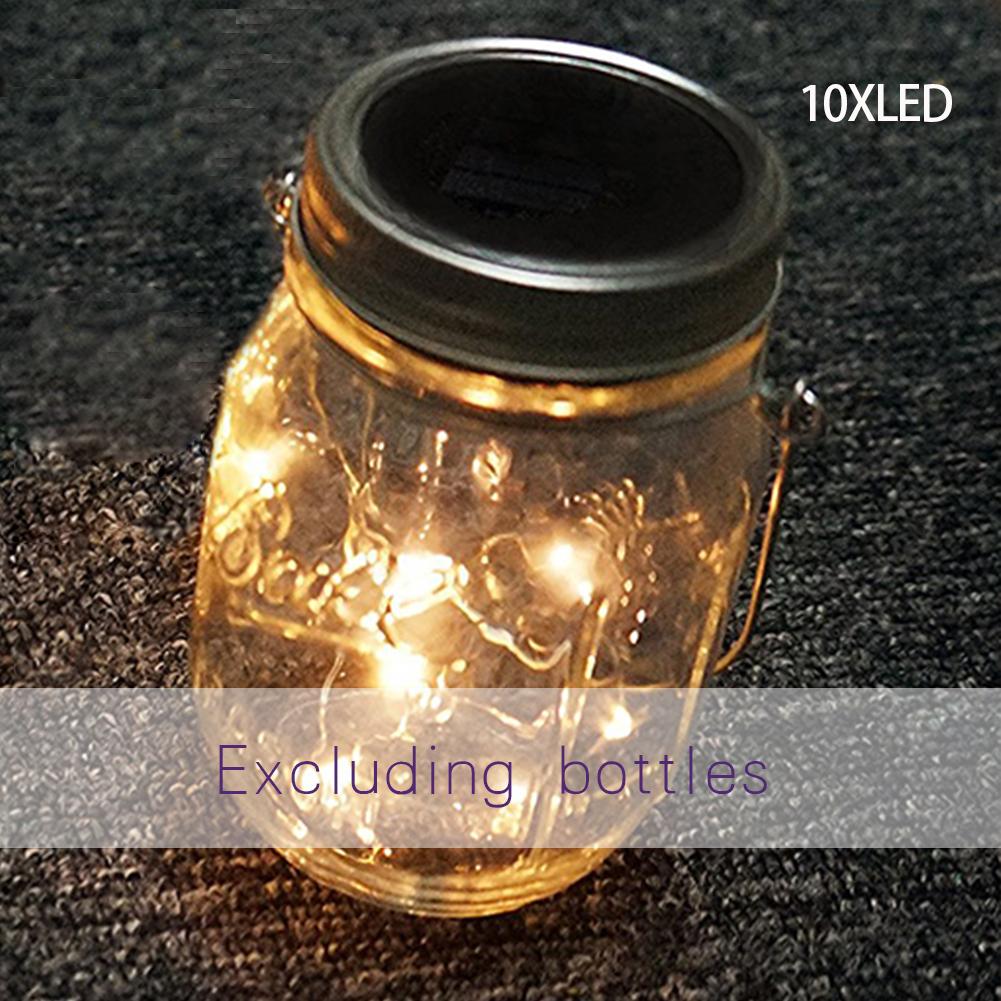 10-LED-Solar-Lichterkette-Mason-Jar-Deckel-Lampe-Xmas-Outdoor-Garten-Dekor-1M