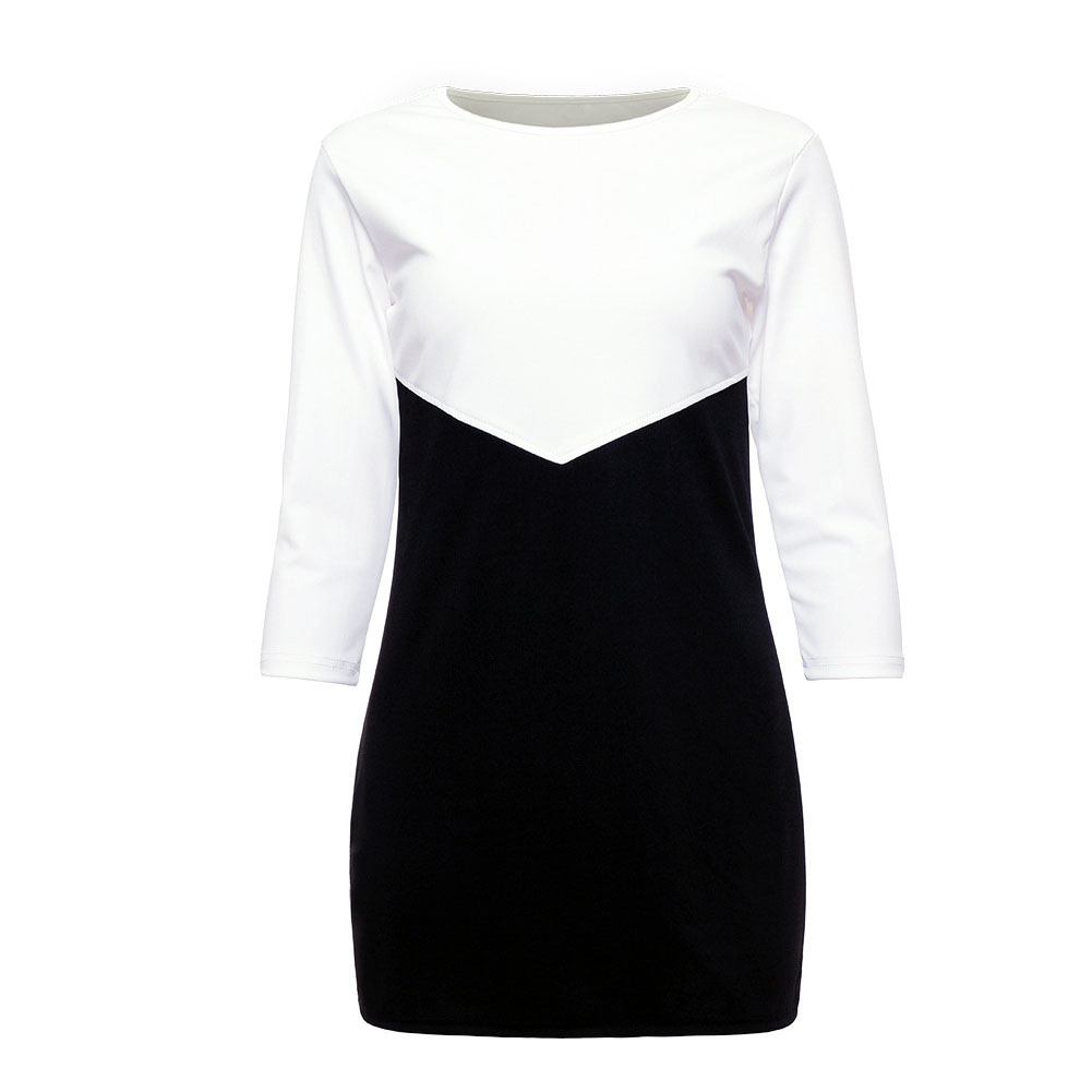 Sexy-Womens-Splicing-Color-Long-Tops-Ladies-Casual-Party-Mini-Dress-Blouse-HOT