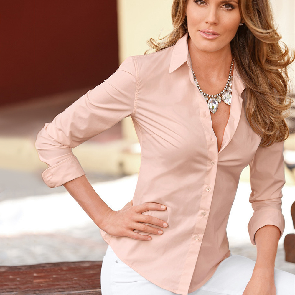 Women-Office-Ladies-V-Neck-Long-Sleeve-Shirt-Casual-Button-Blouse-T-shirt-Tops